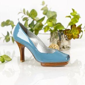 Via Spiga Blue Leather Peep Toe Pump Platform Heel